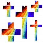 Glaskreuz Kreuz aus Glas Wandkreuz Regenbogen blau