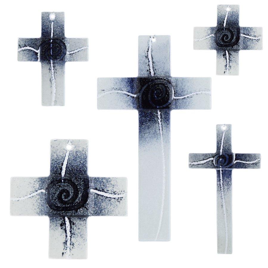 Glaskreuz Kreuz aus Glas Wandkreuz Spirale schwarz weiß
