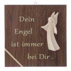 Schutzengeltafel aus Nussbaum mit Engel Aram Dein Engel ist immer bei Dir