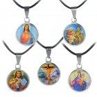 Kette Heiligen Collier Anhänger Herz Jesu, Kreuz, Lamm Gottes, Maria, Hl.Familie