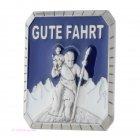 Autoplakette Magnetpin Magnet Pin Gute Fahrt Christopherus Jesus Emaille blau