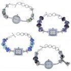 Armbanduhr mit Beads Schlangenarmband Uhr mit auswechselbaren Perlen