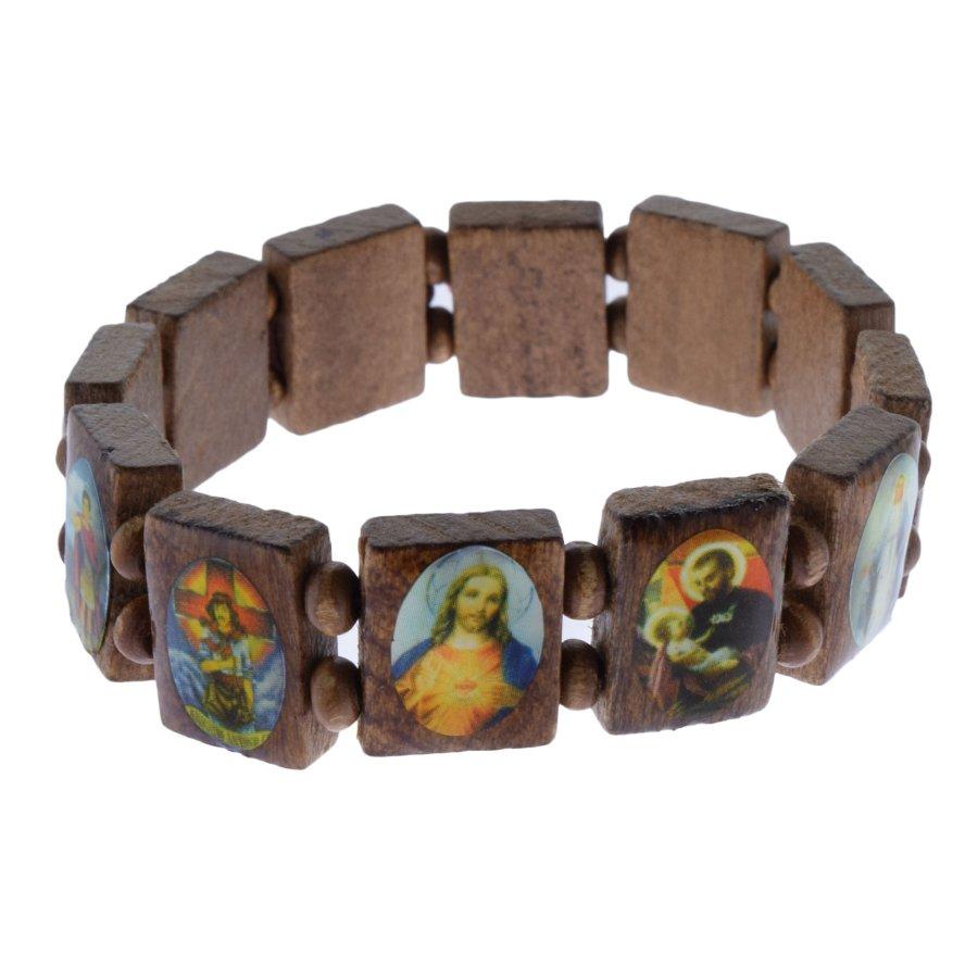Armband aus Holz Holzarmband braun mit Hl. Motive