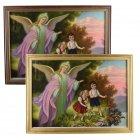 Schutzengelbild Bild mit Schutzengel und zwei Kindern am Abgrund Engel mit Kind