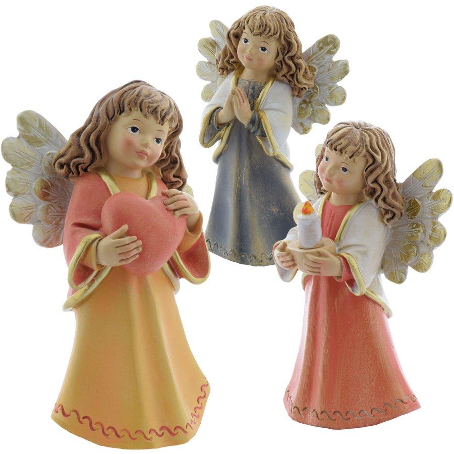 Engel Schutzengel moderne Engelchen mit Herz Kerze oder betend