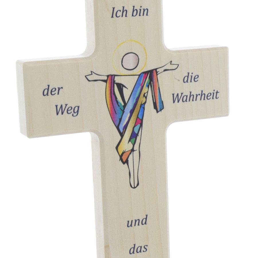 Haussegen mit Spruch und Kreuz 14 x 14 cm Holzkreuz Nussbaum Geschenk