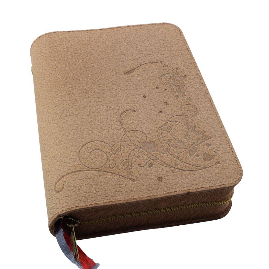 Gotteslobhülle Gotteslob Hülle Lederfaser braun mit Ornament für das Gebetbuch