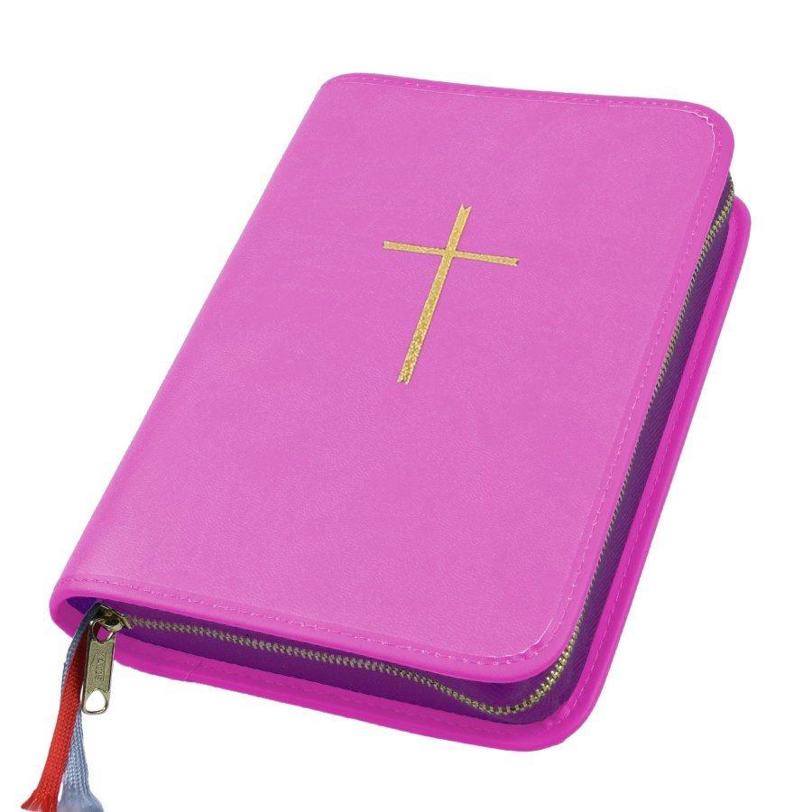 Gotteslobhülle Kunstleder pink rosa mit eingeprägtem Goldkreuz für das Gotteslob